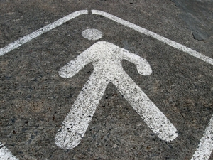 Pedestrian Sidewalk symbol in the road